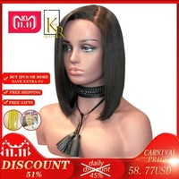 Cool 13X6 Bob Wig Brazilian Remy Hair Short Straight Lace Front Human Hair Wigs For Women Black Color Deep Part Frontal With Full EndAT_93_12