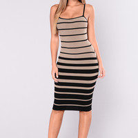 Winona Striped Dress - Black/Taupe