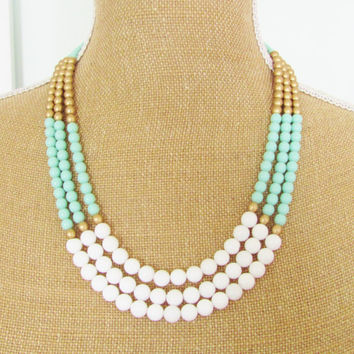 Mint Color Block Pastel Necklace Matte Gold Czech Glass, White Dyed Jade Statement Necklace Wedding, Bridal, Bridesmaid, Beach Mint Green