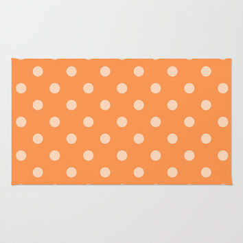 Orange Polka Dot Area & Throw Rug by KCavender Designs