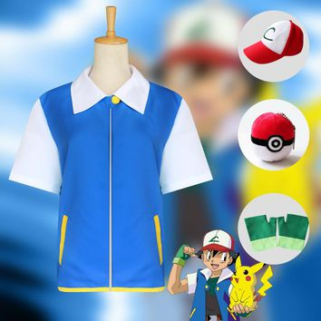 Pokemon Go Cosplay Pocket Monster Ash Ketchum Trainer Blue Sweater Costume Halloween Party Coat Full set
