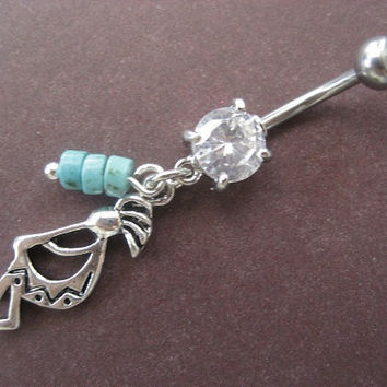 Kachina Belly Button Ring- Turquoise Stone Beaded Kokopelli Native American Indian Charm Dangle Tribal Navel Piercing