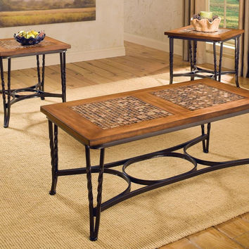 Mulberry Mosaic Tile & Cherry Coffee Table Set