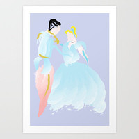 Disney - Cinderella and Prince Charming Art Print by Jessica Slater Design & Illustration