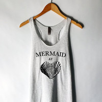 Mermaid at Heart Tank Top in Heather White