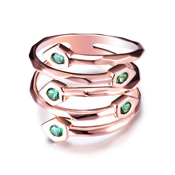 JURE 925 Sterling Silver Zirconia Halo Rose Gold Replacement Ring