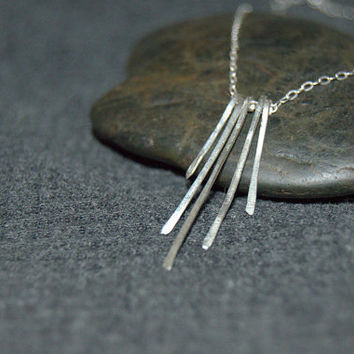 silver multi bar necklace, sterling silver tiny bar necklace, vertical bar necklace in mixed heights, dainty skinny bar, fringe necklace