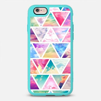 iPhone Case With Interchangeable Back Plates by Casetify | Pink Teal Clouds Skyscape Triangles Design  (iPhone 6, 6s, 6 Plus, 6s Plus, 7)
