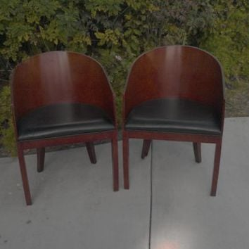 Attirant Milo Baughman Style MCM Wood Encased Barrel Chairs