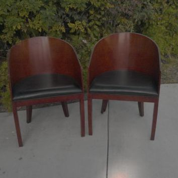 BERNHARDT Vintage MCM Barrel Club Chair Pair