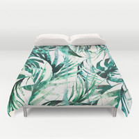Green Tropical paradise  Duvet Cover by Nikkistrange