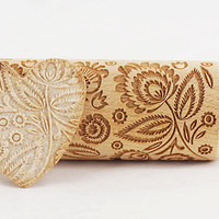 Folk floral pattern - embossed, engraved rolling pin for cookies