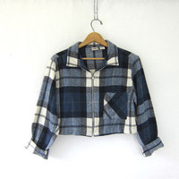 Vintage Cropped Plaid Jacket. blanket coat. Wool Blend blazer