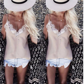 Fashion Summer Women Lace Vest Sleeveless Shirt Loose Plus Size Tops