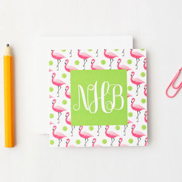 Personalized Gift Enclosure Cards Custom Small Cards Pink and Green Flamingo Monogram Gift Tags Beach Tags Lilly Pulitzer Cards / Set of 25