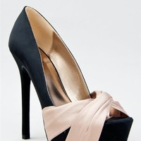 Qupid MIRIAM-70 Satin Knotted Platform High Heel Party Pump - (TAUPE) - 7.5