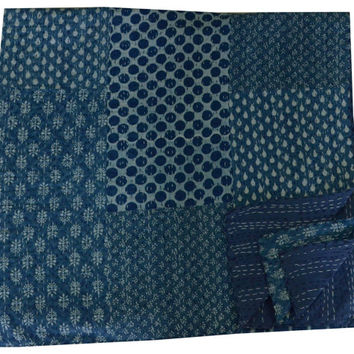 Indigo Blue PATCHWORK KANTHA Quilt Blanket Bedspread Throw Gudari Ralli India Bedding Patchwork Quilt Queen Bohemian Quilt Blue Color Patch
