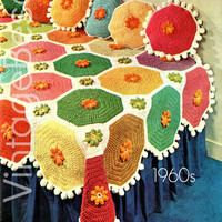 Colorful Afghan Throw and Matching Pillows CROCHET PATTERN Afghan Crochet Pattern Pillow Crochet Pattern 1960s Vintage Beso Instant PDF