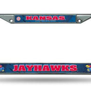 Kansas KU Jayhawks Chrome Metal License Plate Frame FREE US SHIPPING