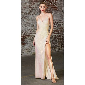 Long Fitted Sequin Gown Opal Silver Gathered Waistline Lace Up Back