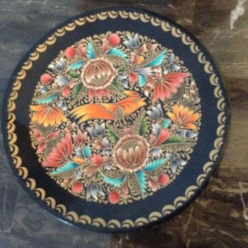 Exquisite Mexican hand painted lacquerware batea wood plate. Made in the town of Patzcuano, Michoacan, Mexico