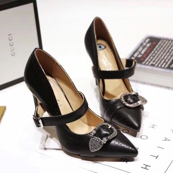 GUCCI Women Trending Fashion Embroidery printing Casual Black heels