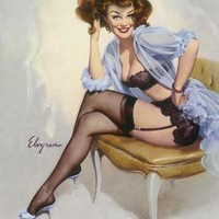 ELVGREN  WELL SEATED   PINUP  FINE ART  LIMITED by VANGUARDGALLERY