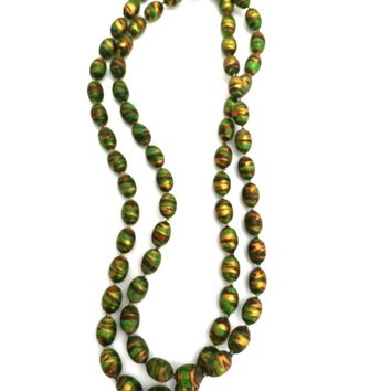 Vintage Necklace Paper Mache Beads 1920s Green Copper Gold 35""