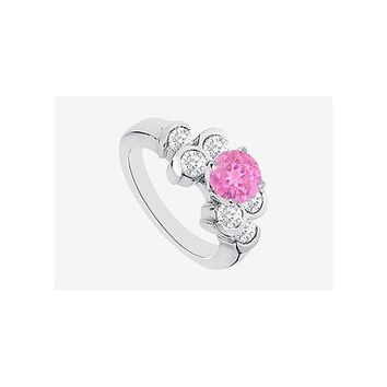 Pink Sapphire Engagement Ring with Cubic Zirconia in 14K White Gold 1.70 Carat TGW
