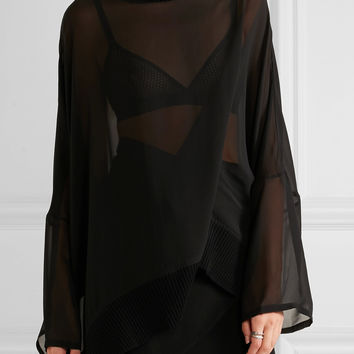 Ann Demeulemeester - Silk-georgette turtleneck top