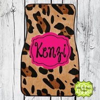 Car Mats Animal Print Leopard Personalized Monogrammed Floor Car Mat Initial Pink