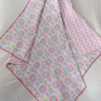 Pink Medallion Print Flannel Receiving or Swaddling Blanket, Double Layer, 2 Layer Serged Blanket, New Design, Crib or Stroller Blanket