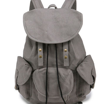 Leisure Three Pockets High School Bag Student Rucksack Travel Canvas Backpack