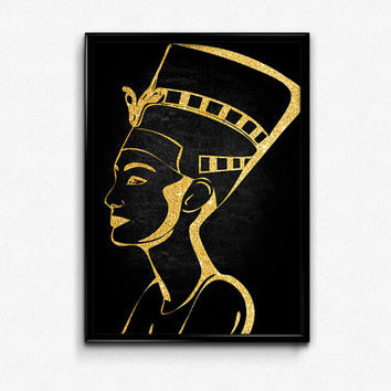 Egyptian Art, Printable, Nefertiti Poster, African American Art, Egypt, Gold, Glitter, Black, Wall Art, Home Decor, Ancient Egyptian Art