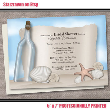 Beach Bridal Shower Invitations PRINTED - 10 to 250 - Message from a Bottle