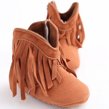 Moccs Newborn Baby From Children Girl Solid Fringe Moccasin Kids Shoes Toddler Shoes Soft Anti-slip Sole Boots Booties year