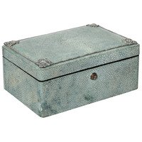 English Art Deco Shagreen and Silver Jewelry Box | 1stdibs.com
