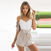 Women's Fashion Summer V-neck Patchwork High Waist Jumpsuit [9430659524]