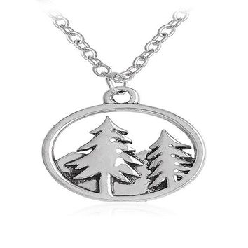 Antique Silver Plated Mountain and Trees Forest Round Pendant Necklace
