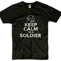 Keep Calm I'm A Soldier Men Women Ladies Funny Joke Geek Clothes Army T shirt Tee Gift Present