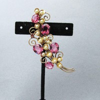 Beauty! 1930's Retro Czech Pink Rhinestone & Faux Pearl Flower Spray Vintage Pin