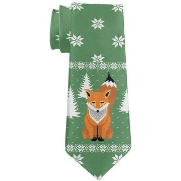 DCCKJY1 Ugly Christmas Sweater Big Fox All Over Neck Tie