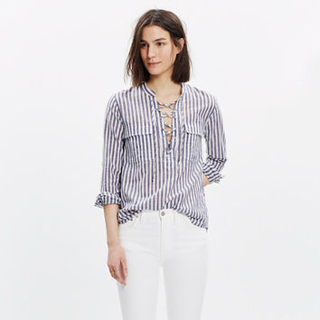 Striped Terrace Lace-Up Shirt