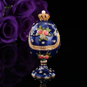 Blue Faberge Egg Craft Home Decor Trinket Box Gift Metal Jewerly Souvenir Case