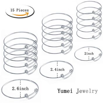 18 Pcs Stainless Steel Expandable Wire Blank Bangle Bracelet for Womens DIY Jewelry Making