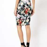 Warehouse Floral Print Pencil Skirt