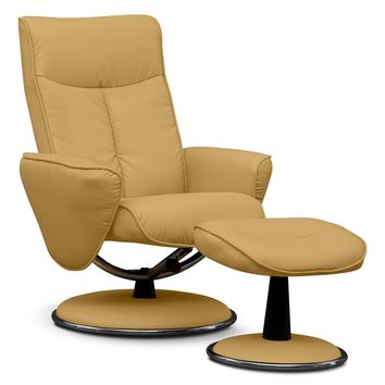 Prism Leather Chair and Ottoman - Value City Furniture