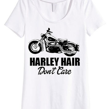 Harley Hair Don't Care Ladies tank top or tee shirt vintage Harley Davidson art black & white retro t shirt top motorcycle art shirt