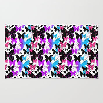 Rainbow Butterfly  Rug by Decampstudios