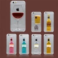 Beer, Red Wine Cup Cell Phone Case For iPhone 5 5S SE 6 6S 7 Plus Red Wine Cup Liquid Case